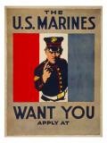 The U.S. Marines Want You, circa 1917 Poster van Charles Buckles Falls