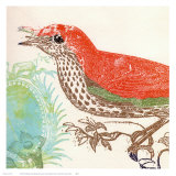 Red Bird Prints by Swan Papel