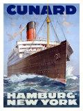 Cunard Line, Hamburg to New York Giclée-tryk af Hans Bohrdt