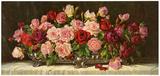 Rosen in Silberner Schale Print by E. Kruger