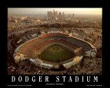 Dodger-Stadion, Skyline von Los Angeles bei Sonnenuntergang Poster von Mike Smith