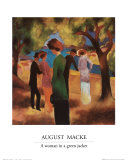 A Woman in a Green Jacket Plakater af Auguste Macke