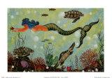 Sirène bleue Affiches par Jessica Fries