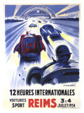 12 Heures International Reims, 1954 Giclee Print by Geo Ham