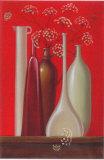 Elderflowers Against Red Background Prints by Ludmila Riabkowa