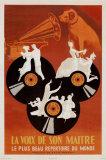 Reclameposter platenlabel His Master's Voice, met Franse tekst La Voix De Son Maitre Posters