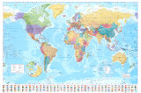 Wereldkaart - Vintage Print