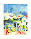 White House, Tunisia, c.1914 Posters af Auguste Macke