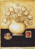 White Tulips and Straberry Prints by G.p. Mepas