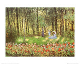 Artist's Family in the Garden at Argenteuil Pôsters por Claude Monet