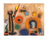 Libelle Mit Roten Flugeln Eine Schlange Jagend Posters van Joan Miró
