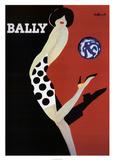 Schoenenreclame, vrouw met bal, Bally Print van Bernard Villemot