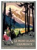 Mont Blanc Chamonix Travel Poster Giclée-Druck von Roger Broders