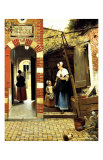 Dutch Courtyard of a House in Delft Giclée-vedos tekijänä Pieter de Hooch