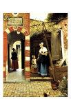 Patio holandés de una casa en Delft Lámina giclée por Pieter de Hooch