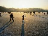 Ice Hockey on Frozen Katzensee Lake, Zurich, Switzerland Photographic Print by Martin Moos