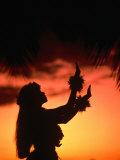Silhouette of Hula Dancer on Waikiki Beach at Sunset, Waikiki, U.S.A. Impressão fotográfica por Ann Cecil