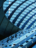 Escalators and Glassed in Roof at Canary Wharf Underground Station, London, England Lámina fotográfica por Neil Setchfield