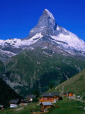 Matterhorn Towering Above Hamlet of Findeln, Valais, Switzerland Photographic Print by Gareth McCormack