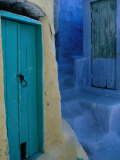 Painted Stepped Alley and Green Wooden Door,Pothia, Kalymnos, Greece Photographic Print by Jeffrey Becom