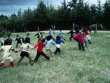Indigenous Mapuche Children Playing on Outskirts of Town, Chol Chol, La Araucania, Chile Lámina fotográfica por Eric Wheater
