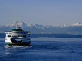 Wa State Ferry Nearing Colman, Seattle, Washington, USA Photographic Print by Lawrence Worcester