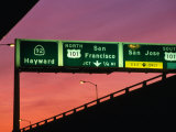 Freeway Sign in Mateo County, San Francisco, California, USA Photographic Print by Stephen Saks