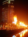 Fire Show in Front of Crown Casino, Melbourne, Australia Reproduction photographique par John Banagan