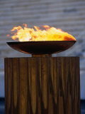 The Olympic Flame Burns in the Reconstructed Roman Stadium, Athens, Attica, Greece Fotografie-Druck von Neil Setchfield