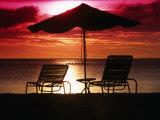 Sunset Over Beach, Palau Fotografie-Druck von Casey Mahaney