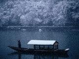 A Traditional Leisure Boat During a Snowfall at Arashiyama West of Kyoto, Kyoto, Kinki, Japan, Photographic Print by Frank Carter
