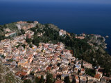 Aerial View of Coastal Town Including Teatro Greco (Greek Ampitheatre), Taormina, Sicily, Italy Photographic Print by Stephen Saks
