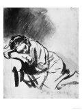 Sleeping Girl, Drawing, British Museum, London Giclée-tryk af  Rembrandt van Rijn