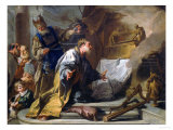 David Before the Ark of the Covenant, Vasari Corridor, Uffizi Gallery, Florence Giclée-tryk af Giovanni Battista Pittoni