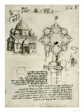 Designs for a Sacred Building and a Lock for a Chest Giclée-Druck von  Leonardo da Vinci