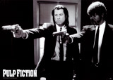 Pulp Fiction –  Duo with Guns (Jackson and Travolta) B & W Movie Poster Photo