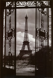 Eiffeltornet genom grinden|Eiffel Tower Through Gates Planscher av Alexandre-Gustave Eiffel