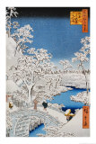 """Drum Bridge at Meguro, from the Series """"100 Views of Edo"""" Posters by Ando Hiroshige"""
