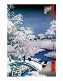 "Drum Bridge at Meguro, from the Series ""100 Views of Edo"" Plakat af Ando Hiroshige"