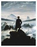 De dwaler boven de zee van mist Poster van Caspar David Friedrich