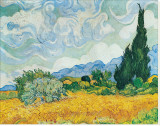 Wheatfield with Cypresses Stretched Canvas Print by Vincent van Gogh