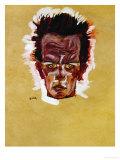 Self-Portrait (Head), 1910 Giclee Print by Egon Schiele