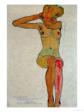 Seated Female Nude with Raised Right Arm, 1910 Gicléetryck av Egon Schiele