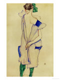 Standing Girl in Blue Dress and Green Stockings, 1913 Giclee Print by Egon Schiele