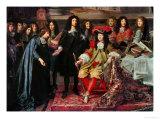 (Henri Testelin after Le Brun) Louis XIV Establishes the Academy of Science (Detail) Reproduction procédé giclée par Charles Le Brun