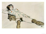 Reclining Female Nude with Legs Spread, 1914 ジクレープリント : エゴン・シーレ