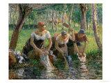 Les Lavandieres, the Washerwomen, 1895 Giclée-tryk af Camille Pissarro