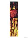Female Nude, Rear View with Shawl, Fragment Giclée-tryk af Egon Schiele