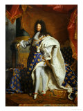 Louis XIV, King of France (1638-1715) in Royal Costume, 1701 Gicléetryck av Hyacinthe Rigaud