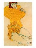 Woman Undressing, 1914 ジクレープリント : エゴン・シーレ